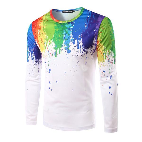 T-shirt 3d stampa casual da uomo manica lunga Camiseta slim fit personalità spruzzata vernice splash-ink tshirt modello 3D