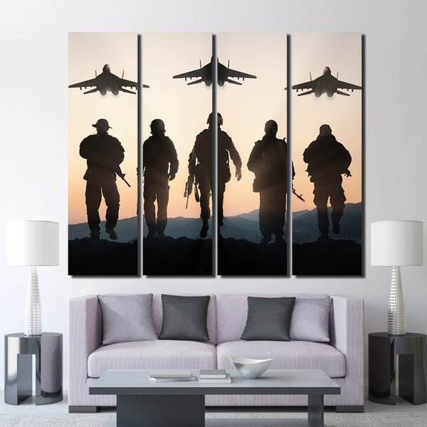 4 piece canvas airplane sunset army posters and prints wall decorations living room decor poster print Free shipping/up-1327D