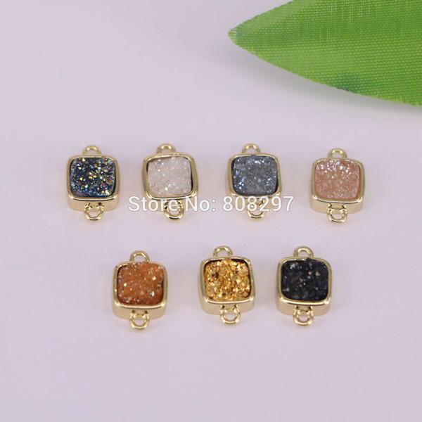 Wholesale 8Pcs Square Shape Mixed Color Druzy Crystal Geode Pendants Gold Color Titanium Connector Bead with Double Bails