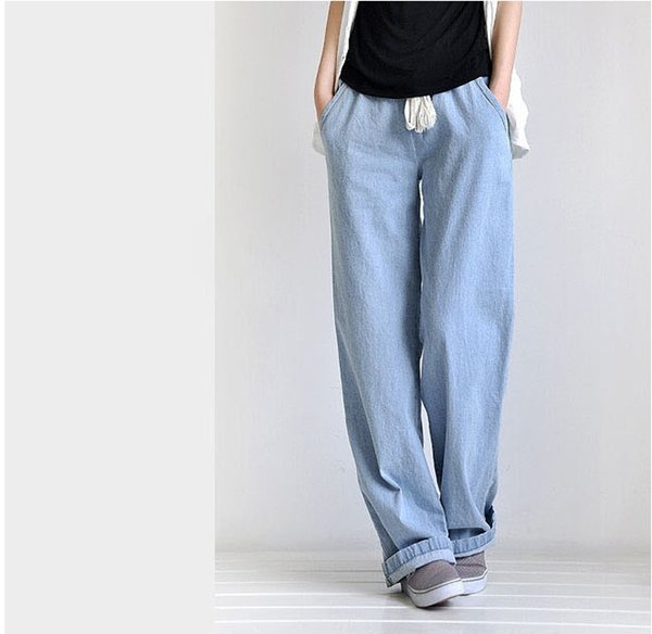 Pantalones Mujer Verano 2019 Largos Moda Tallas Grandes Comfort Pantalones Anchos Bolsillo Sueltos Rectos Con Rayas Mujer Ropa Premama