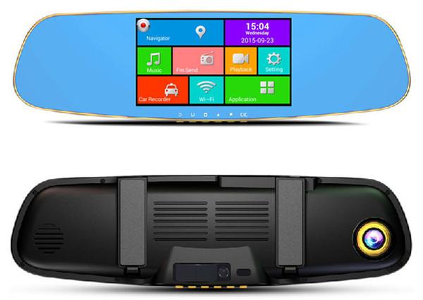 BEIBEIKA 5.0inch Touch RAM 512MB ROM 16GB 2 Split View Android GPS Navigation Mirror Car DVR dual lens camera rear parking WiFi FM Transmit
