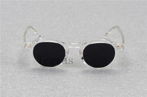 2018 Oliver Peoples OV5186 Gregory Peck fashion Vintage Clear Frame Round Polarized Sunglasse Women and Men with case