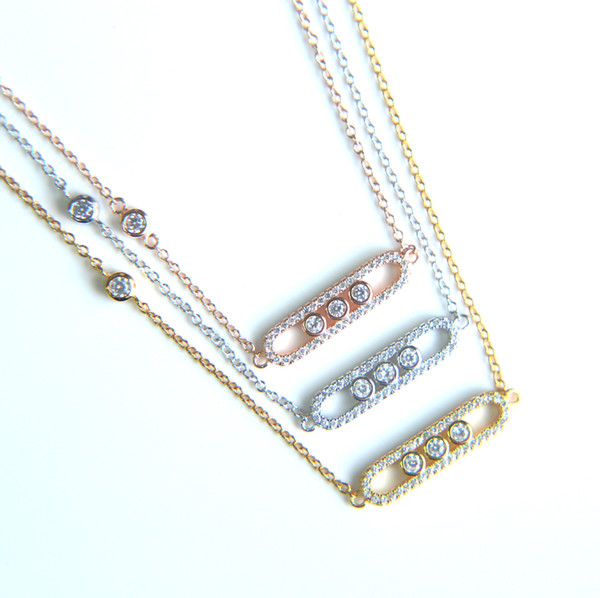 2017 New 925 silver Fashion Brand Classic Three CZ Zircon charming Gold silver rose gold Pendants bar messika Necklace For Women