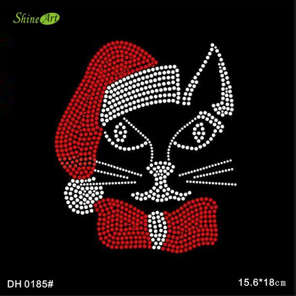 Free shipping bling rhinestone iron on transfer Christmas cat for t-shirts DIY DH0185#
