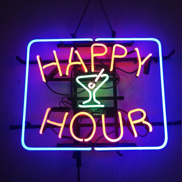 "17""x14"" Happy Hour Cocktails Neon Sign Bar Wall Display Tavern REAL GLASS TUBE LIGHT BEER PUB CLUB STORE DISPLAY SIGNAGE"