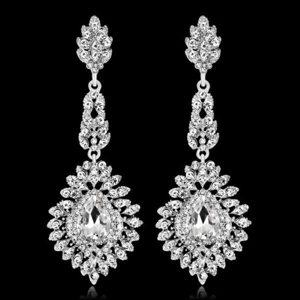 shunwedding / Elegant Teardrop Crystal Wedding Long Earrings for Women Prom Party Jewelry for Brides Bridesmaid free shipping