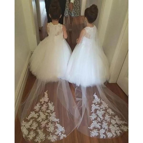 2017 Designer Flowergirl Dresses For Weddings Puffy Ball Gown Tulle Little Child Baby Flower Girls Dress Custom Made