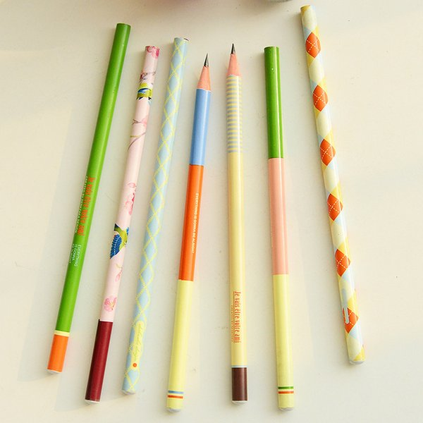 Wholesale-X27 3X Cute Fresh Wood Pencil School Office Supply Writing Drawing Stationery Kid Student Gift
