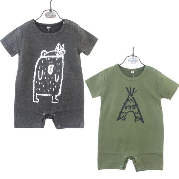2019 Ins Baby boy clothing Bodysuit Onesies Tent beat short sleeve Button Infants clothes boxes 0-2years Army green gray