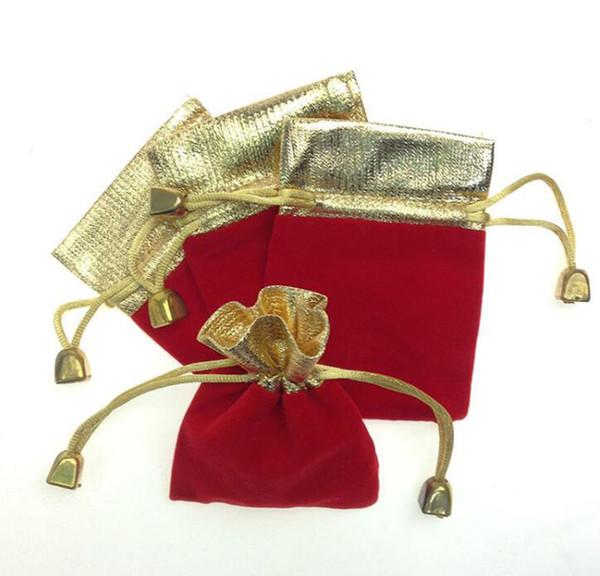 500 pcs Jóias Com Cordão Encerramento Flanela Saco de Presente de Jóias Saco De Armazenamento Sacos Titular (9 * 12 cm) Ouro + Vermelho