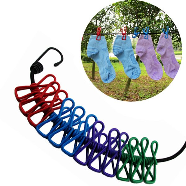 Travel line Portable Telescopic Windproof Elastic Multifunctional Socks Hangers Clothes Line Rope Hang out in the clothesline IC514