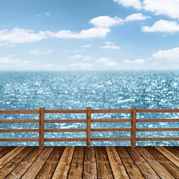 2019 Light Blue Sky Sparkling Seawater Beach Themed Wedding Photography Backdrop Wood Flooring Wooden Railing Studio Photo Shoot Backgrounds From