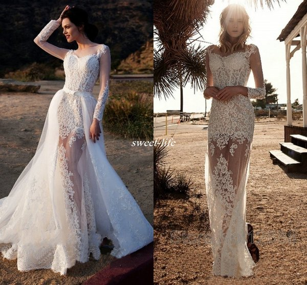 Lace Wedding Dresses with Illusion Long Sleeve Detachable Train Appliques Sheath 2019 Sexy See Through Country Beach Boho Formal Bridal Gown