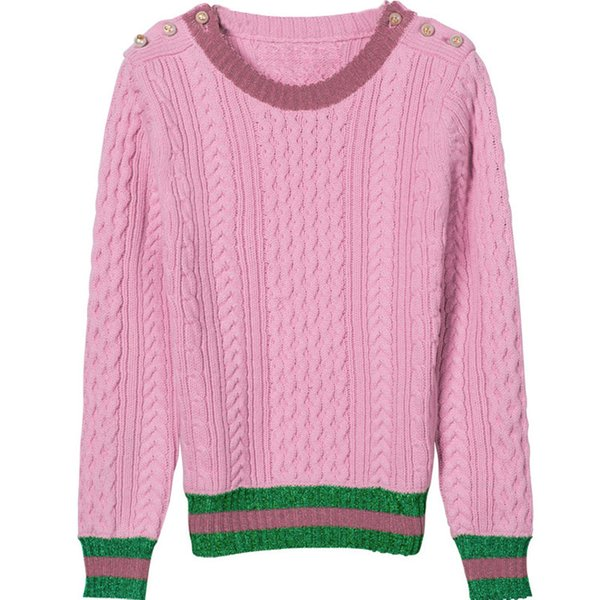 Wholesale- Ky&Q 2017 Autumn Winter HIGH Quality Women Top Fashion Designing Solid Thick Sweater Striped Patchwork Runway Knitted Sweaters