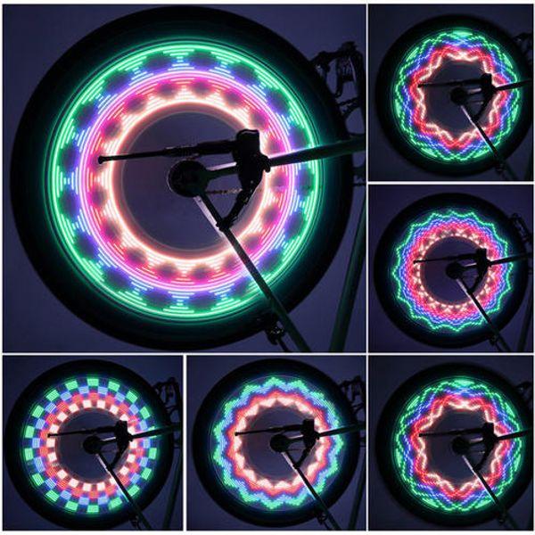 Colorful Bicycle Lights Bike Cycling LED Hot Wheels night 32 Patterns Mountain Tyre Wheel Spoke Light Lamp Flashlight