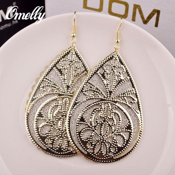 Large Size Hollow Out Dangle Chandeler Earrings Jewelry 18K Gold Silver Filled Earring for Lay Girl Party Jewelry Wholesale