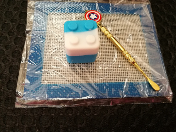 Silicone Wax Kit Set with square sheets pads mat 7ml oil container Captain America dabber tool for dry herb
