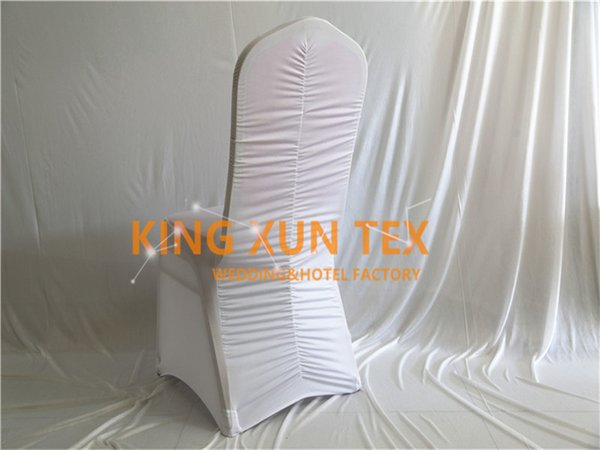 White Color Back Ruffled Lycra Chair Cover Cheap Wedding Spandex Chair Cover Good Quality Free Shipping