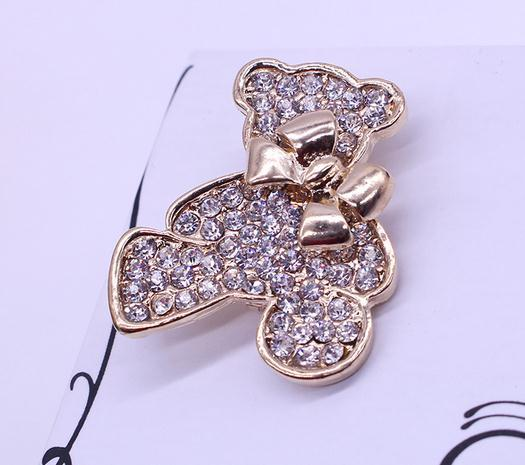 Fashion Brooch Cute Inlaid Rhinestones Bow-Knot Bear Corsage