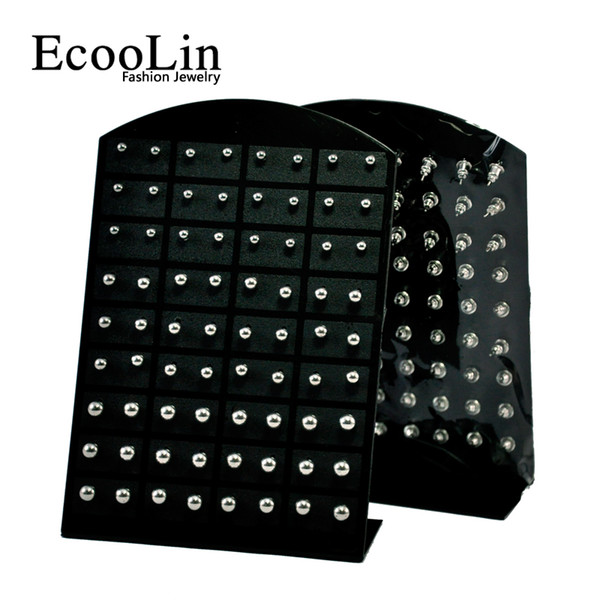 72Pcs Wholesale Jewelry Nnice Retro rock iron ball Stainless Steel Ball Stud Earrings Bulk Lots Comprising Display Boards LR282
