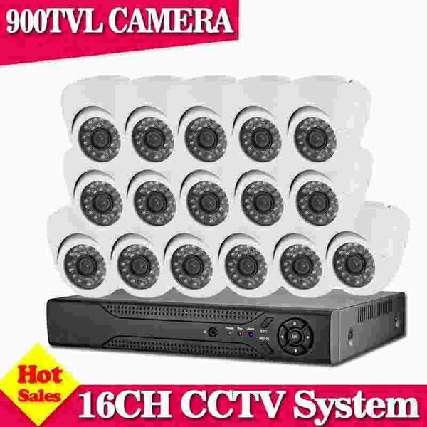 Home Surveillance 16CH AHD 960H HDMI DVR indoor Dome 900TVL Night Vision Home CCTV Security Cameras System kits With HDD
