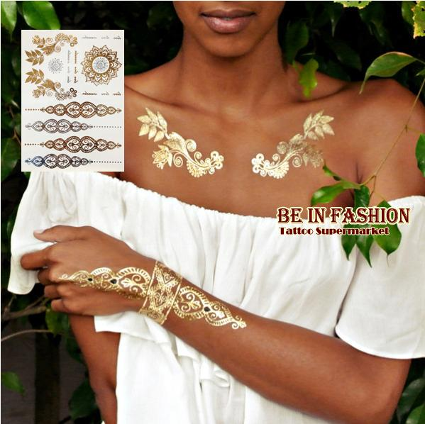 Wholesale- 1sheet new Indian Arabic designs golden silver flash tribal henna tattoo paste metalicos metal tatoo sticker sheets on body hand