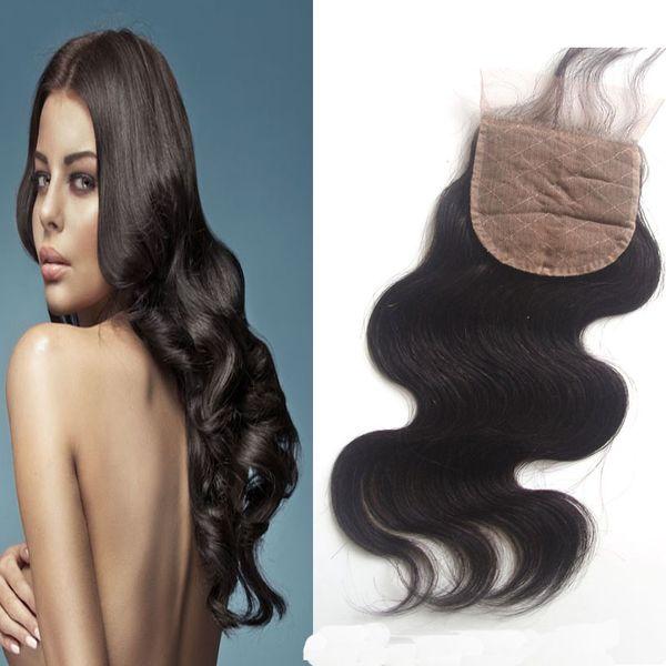 Unprocessed Human Hair Silk Base Closure Body Wave Free Part Brazilian Peruvian Indian Malaysian Virgin Hair Natural Color Dyeable 8-20 inch