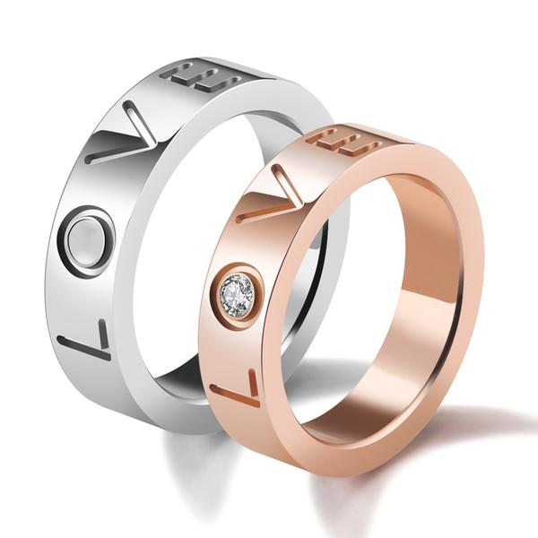 Seu e seu anel de amor de cristal zircônia solitaire banda de aço inoxidável para o casamento noivado-livre gravura