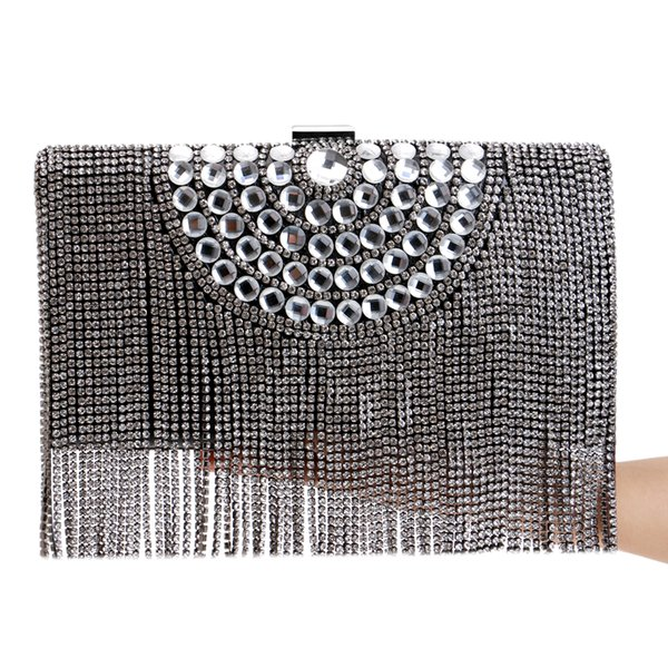 Nuovo arrivo nappa strass donne borse da sera occhiali pulsante design in metallo Messenger catena tracolla argento / oro / nero