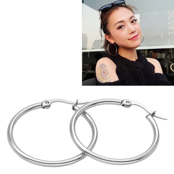 top popular Titanium Steel Big Circle Huggie Hoop Earrings Trendy Silver Exaggerated Big Earrings For Women Mixed 25mm-80mm Size Wholesale 2019