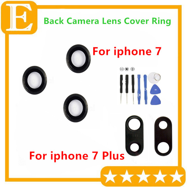 10pcs/Lot Original Camera Lens Glass With Frame for iPhone 7G 4.7'' 7 Plus 5.5'' Back Camera Ring Holder Replacement Parts