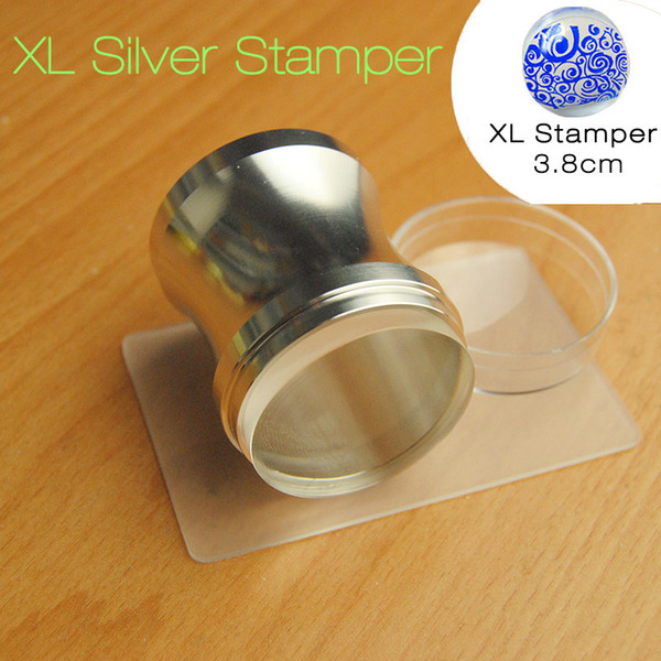 New Silver Nail Art Metal Stamper 3.8cm Head Clear Jelly Silicone Scraper with Cap Polish Print Stencil Manicure Stamping Tools