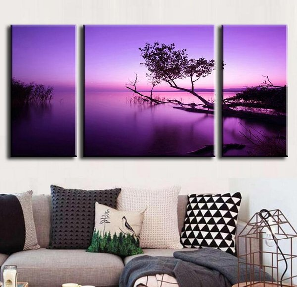 3 Pcs/Set Abstract Oil Painting Modern Canvas Wall Art Picture Combined Paintings Purple Lake Unframed Canvas Painting