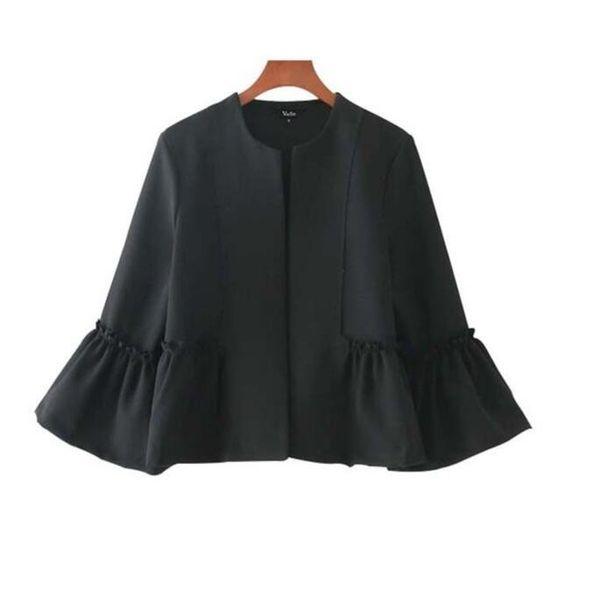 Frauen süße Rüschen Jacke offene Stich Design Flare Ärmel Mäntel Solid Damen Casual Marke Oberbekleidung Tops kostenloser Versand