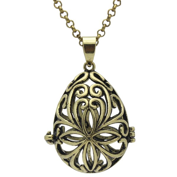 "Wholesale Aromatherapy Jewelry Essential Oil Diffuser Antique Bronze Locket Waterdrop Flower Hollow Openable Pendant 30"" Chain Necklace"