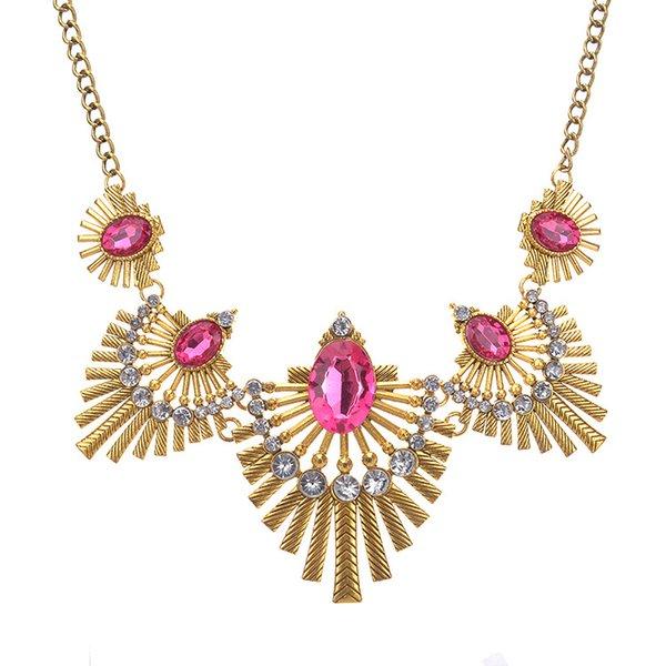 2017 Women Fashion Shourouk Oval Gemstone Necklace Leaf Alloy Shape Necklaces Gold/Silver Plated Short Necklace Lady Fashion Jewelry 5PCS