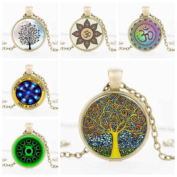 Retro Life Tree Pendant Necklace Gemstone Cabochon Pendant Glass Necklace Silver Statement Chain Jewelry for Women