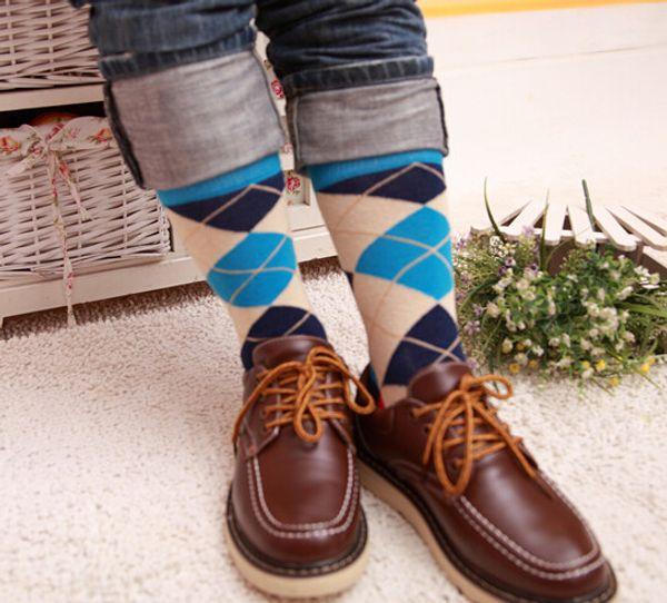 Man Business Socks With Diamond Pattern, Man Happy Socks, Fashion Colorful Street Socks, Make Your Own Socks