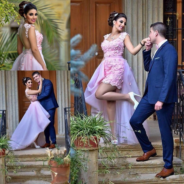 2017 New Sexy Short Prom Dresses Sweetheart Pink Lace Appliques 3D Floral High Low Length Cocktail Dress Formal Party Dress Evening Gowns