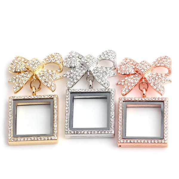 2017 NEW Jewelry Full diamond Crystal Butterfly Bow+Square shape floating lockets Pendants For DIY locket Necklaces