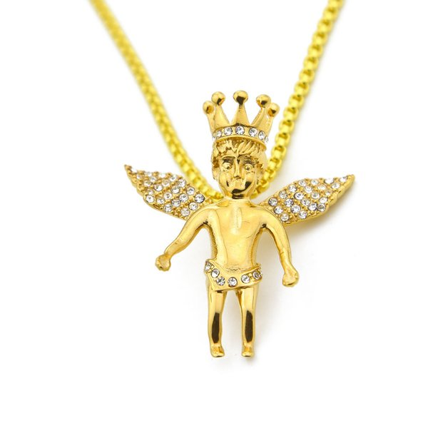 Hip Hop Gold Silver Plated Crown Angle CZ Crystal Pendant Necklace Stainless Steel Rope Chain 4.5cm Jewelry