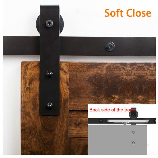 5 pies / 6 pies / 6,6 pies / 8 pies de cierre suave Antiguo Negro deslizante Granero Puerta de madera Hardware Kit de pista de armario
