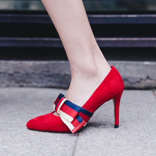 8bcfb70a9c Red Black Women Suede Pumps With Removable Web Bow High Heels ...