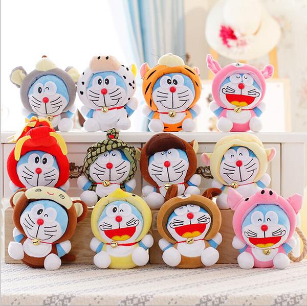 18cm 12pcs / lot Douze zodiac chinois Doraemon Super Qualité Mignon En Peluche Poupée Peluche Jouet Cadeau À Collectionner Cadeau De Mariage Enfants Jouets