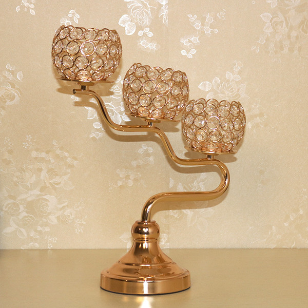 New Europe 3 Head Golden Metal Candelabras With Crystal Wedding Candle Holder Event Centerpiece Home Decor