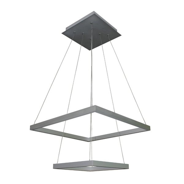 lxledlight Modern Two-Tier Square LED Chandelier Lighting with Adjustable Hanging Light, Silver