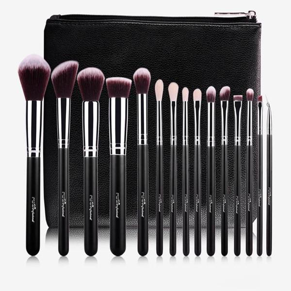MSQ 15 stücke Professionelle Make-Up Pinsel Set Bilden Pinsel Hochwertiges Synthetisches Haar / ZIEGENHAAR Mit PU Ledertasche Für Schönheit