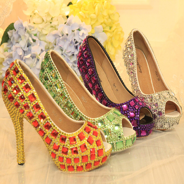 Newest Designer Five Color Crystal Colorful Rhinestone Peep Toe Bridal Wedding Shoes Purple Silver Green AB Crystal Red Stiletto Party Prom