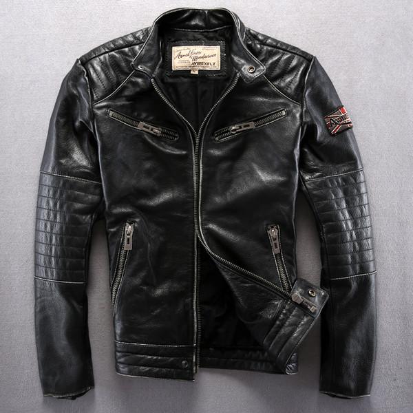 Vintage black AVIREXFLY cow genuine leather jackets rock hip hop motorcycle suit Locomotive jacket