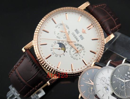 Ossna 40mm Steel Sase Mechanical Automatic Shining Bezel Date Day Watch 3ATM Water Resistantance Rating Wristwatch 1613/1614/1617/1618